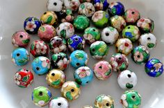 14mm Round Cloisonne Beads Flower Beads Floral by TheBeadBandit