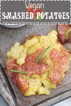 Easy to make, crispy, roasted smashed potatoes made with vegan butter, rosemary and seasoning is a super easy thanksgiving side dish to make #healingtomato #vegan #veganthanksgiving #sides #potatoes #smashedpotatoes Tiny Potato, Potato Rice, Vegan Thanksgiving, Thanksgiving Sides, Smashed Potatoes Recipe, Best Potato Recipes, Vegetarian Comfort Food, Vegan Butter, Side Dishes