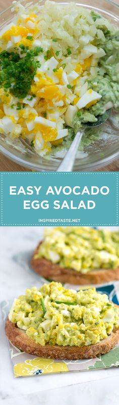 Our avocado egg salad recipe is very simple, all you need to do is mash avocado with a tiny bit of mayonnaise then stir in chopped eggs, celery, lemon juice and herbs. You could even swap nonfat or low-fat yogurt for the mayonnaise (sour cream works, too). Recipe on inspiredtaste.net | @inspiredtaste Avocado With Egg, Avocado Egg Recipes, Simple Avocado Recipes, Egg Salad Recipes, Baked Avocado Egg, Celery Recipes, Avocado Juice, Mashed Avocado, Avocado Aoli