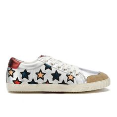 """ASH WOMEN'S MAJESTIC STAR PRINT LOW TOP TRAINERS - SETA/SILVER/RED.Brand: AshColour: MultiMaterial: Upper: Leather. Sole: Rubber.Footwear Style: Low Top Trainers"".Look # 25-All Denim - Denim Top -Denim Skirt-Trainers-Crossbody Bag-Iphone Cover 