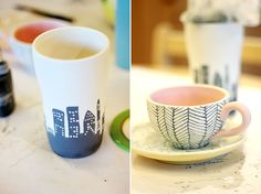 Hand painted mugs Pottery Painting, Ceramic Painting, Diy Painting, Pottery Art, Painted Ceramics, Painted Pottery, Pottery Ideas, Hand Painted Mugs, Painted Pots