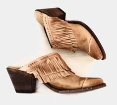 Old Gringo Brown Cowgirl Slip On Cowboy Studded Ankle Boots New Mules/Slides Size US 5.5 Regular (M, B) - Tradesy Studded Ankle Boots, Brown Leather Boots, Leather Booties, Ankle Booties, Southern Girl Style, Cowboy Shoes, Old Gringo, Brown Heels, Slip On