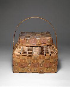 Lidded Basket  Date: ca. 1840 Geography: United States, New York Culture: Onondaga Medium: Ash splint, wood, pigment