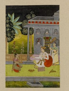 Dipaka Raga. Opaque watercolour on paper, Deccan, ca. 1690, ... portrait of a prince with a lighted candle in his turban, listening to a female musician, while a female attendant fans him, illustration to Dipaka Raga, the Fire Music