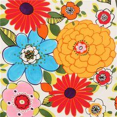 white Alexander Henry big flower fabric by Vivienne