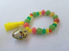 Citrus Handblown Heart Charm Bracelet at the UM Boutique 💜 https://www.etsy.com/listing/520554900/citrus-fever-stretchy-braceletchild