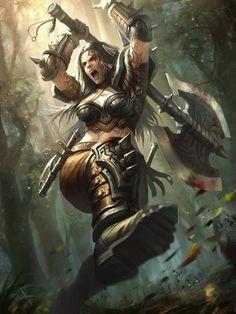 Rinn with axe; Guerrera   Check out Ragnarok's new Kickstarter featuring strong female leads! https://www.kickstarter.com/projects/jmmartin/hath-no-fury-an-anthology-where-women-take-the-lea?ref=nav_search