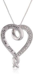 "Sterling Silver ""You Hold My Heart Forever"" Open Heart Diamond Pendant Necklace, 1/10 ct. t.w. 18"""