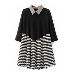 SheIn(sheinside) Black Striped 2 in 1 Pleated Dress (€31) ❤ liked on Polyvore featuring dresses, black, embellished dress, short pleated dress, short sleeve dress, long sleeve striped dress and long-sleeve maxi dress
