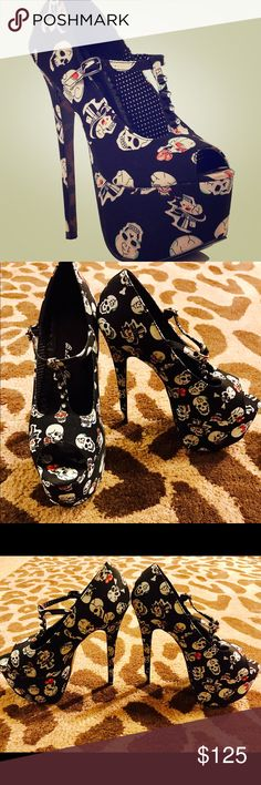 Bettie Page Desdemona T-Strap Stilettos Sz 8 Leopard, skulls, & rhinestones! What more could a girl ask for? New w/o box. NEVER been worn and in pristine collectible condition. Bettie Page Shoes Platforms