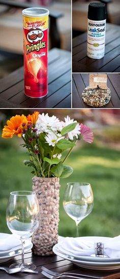 DIY Rustic Rock Vase #upcycle #vase #decoration