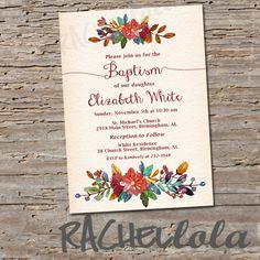Fall Floral Baptism invitation Printable DIY por Rachellola en Etsy