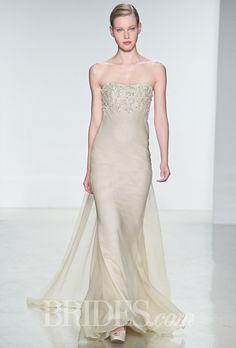 Brides.com: . Strapless silk chiffon sheath wedding dress with a beaded bodice, Amsale