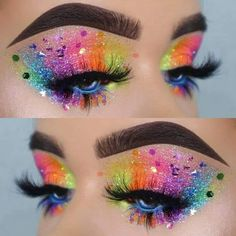 Rainbow Glitter Eyes Makeup Look For Your Next Electronic Music Festival Or Rave Pride Makeup Ideas Electronic Eyes Festival Glitter Makeup Music Rainbow Rave Makeup Eye Looks, Eye Makeup Art, Colorful Eye Makeup, Eyeshadow Makeup, Star Makeup, Neon Eyeshadow, Makeup Brushes, Colorful Eyeshadow, Eyebrow Makeup