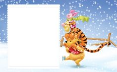 Cute Winter Kids Frame with Winnie the Pooh and Friends