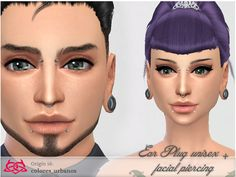 Ear Plug + facial Piercing 01 by Colores Urbanos at TSR via Sims 4 Updates