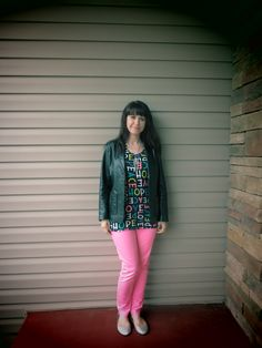 Dressing Your Truth T4 look for Fall/ Winter...DYT Type 4 Four...Neon Pink Pants, Neon Tank Top, Black Leather Jacket