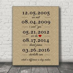 Personalized romantic gift featuring important dates. This print makes a great keepsake gift for weddings, anniversaries, engagements or just because.....  *** note:- my mock up image on listings show a relatively larger sized print on wall. I currently sell 11 x 14 only but is the same image!  *******ALL TEXT IS CHANGEABLE ***** *******BACKGROUND AND FONT COLORS CAN BE CHANGED******  YOUR PERSONALIZED CANVAS Genuine Artist Gallery Wrapped Canvas measuring 11 x 14 with a wrapped depth of…