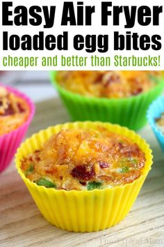 Air fryer egg bites filled with bacon, cheese and onions are the best low carb and keto breakfast idea ever! Like Starbucks egg bites but customized! Air Fryer Recipes Snacks, Air Fryer Recipes Breakfast, Air Frier Recipes, Air Fryer Dinner Recipes, Breakfast Ideas, Camping Breakfast, Breakfast Cups, Diabetic Breakfast, Breakfast Pancakes