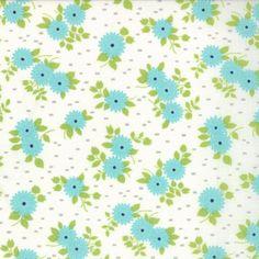 Happy Go Lucky - Mum - White Aqua (half yard) by Bonnie and Camille (55063 22)