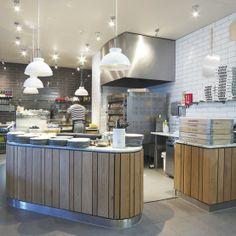 wood planks, varying widths, color palette Wooden  Pizzaiola / Restaurant Kitchen  PizzaExpress West Wickham www.creeddesign.co.uk