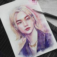 Kpop Drawings, Art Drawings Sketches, Face Sketch, Arte Sketchbook, Kpop Fanart, Art Inspo, Painting & Drawing, Art Reference, Watercolor Art