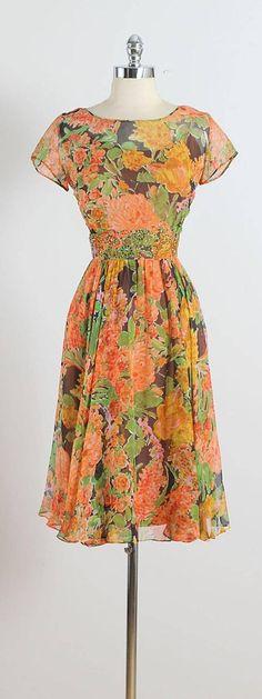 Vintage 1950s Harmay Chiffon Silk Dress