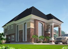 The Making Of The Enugu 6 Bedroom Duplex - Properties - Nigeria Modern Bungalow Exterior, Modern Bungalow House, Dream House Exterior, Beautiful House Images, Beautiful House Plans, Bungalow Floor Plans, Duplex House Plans, Unique House Design, Bungalow House Design