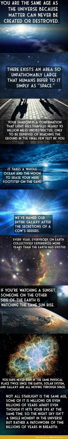 The Universe And Your Place In It i pinned this on my history board but could also be science i guess----Mind=Blown Science Facts, Fun Facts, Science Quotes, Random Facts, Cosmos, Space Facts, Quantum Physics, Astrophysics, To Infinity And Beyond