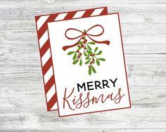 Merry Kissmas Gift Tag. Pair with Lip gloss, lip balm, lipstick by LilacsAndCharcoal