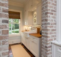 I didn't find the answer to your question, unfortunately. However, you can see more of this project as well as get contact info. for the designer here: Jill Frey Kitchen Design. Faux Brick, Exposed Brick, Whitewashed Brick, Fresh Farmhouse, Farmhouse Design, Brick Columns, Brick Molding, Brick Wall, Charleston Style