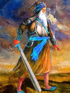 Baba Deep Singh is one the most hallowed martyrs in Sikhism . He is remembered for his sacrifice and devotion to the teachings of the Sikh gurus. This painting shows him in full battle attire ready to protect the dignity of Hindus from the invaders.