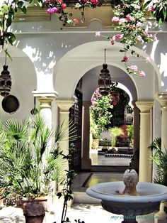 This is one of my favorite styles for a house, with hanging flowers in the doorways in spring and summer time... and a courtyard :)  Very Mediterranean.