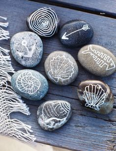 USE SILVER SHARPIE TO DECORATE BEAUTIFUL ROCKS (Sweet Paul Magazine - Summer 2012 - Page 64-65)