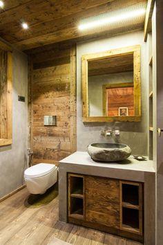 Next Concrete – Wood & Microcemento Minimalist Interior, Bathroom Interior Design, Rustic Bathroom Designs, Concrete Wood, Chalet Design, Wooden Bathroom, Wc Design, Rustic Bathroom, Rustic House