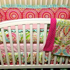Custom  Baby Bedding- Kumari Garden- baby girl bedding with light pink, fuchsia, lime and aqua