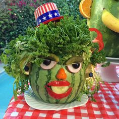 Uncle Watermelon, perfectly silly Fourth of July mascot centerpieces by Charles Phoenix Snacks For Work, Healthy Work Snacks, Healthy Appetizers, Yummy Snacks, 4th Of July Party, Fourth Of July, Pumpkin Seed Butter, Carob Chips, Free Printable Flash Cards