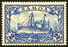 """German Samoa 1900 Scott 67 2m blue """"Hohenzollern"""" The mark denomination engraved stamps (four of them) were also issued in 1900. This design is right at the top for my all time favorites during the classical era.  Four more stamps of these designs were released in 1915 with watermark """"Lozenges"""". They only exist unused in the catalogue, as they were never placed in use ( WW I occupation in 1914 of Samoa by New Zealand).  When New Zealand occupied German Samoa in August, 1914, the German…"""