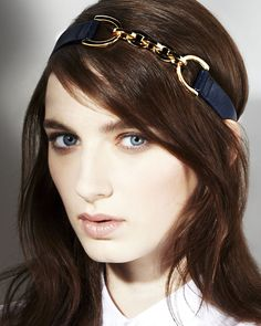 Jennifer Behr Leather and Chain Headwrap :: gold and navy leather headband handmade in New York City