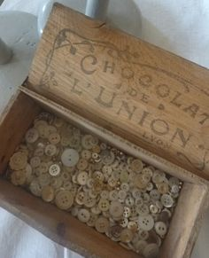 I could spend hours just looking and handling the contents of this box of buttons. As a child a button box was a place of wonder for me.
