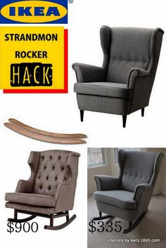 Ikea Strandmon Hack Into Wingback Rocker Ikea Chair Becomes Cute Rocking  Chair For Baby Nursery, Grey Upholstery With Button Tufting And DIY Rocker  Base ...