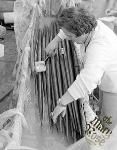 The first chest of yew longbows, one of the largest collections of their type, being examined shortly after being brought up from the Mary Rose dive site.     Overall 172 longbows were recovered (with 2303 arrows!) from a recorded total of 250 bows (and 9,600 arrows).     Although 864 bowstrings were inventoried aboard the Mary Rose, only a small fragment on one has been recovered.    Image © Mary Rose Trust