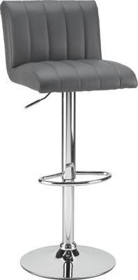 Dieser Barhocker bietet Ihnen modernes Design und bequemen Sitzkomfort. Der Bezug im Lederlook in Grau harmoniert perfekt mit dem verchromten Gestell. Der Sitz ist mittels Gaslift in der Höhe verstellbar und drehbar.Dank der neutralen Farbgebung passt der Barhocker zu fast jeder Bar.