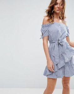 ASOS Off Shoulder Sundress in Stripe