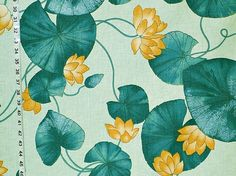 An aqua waterlily pond fabric. This is a sunny cheerful vintage water lily fabric fabric.