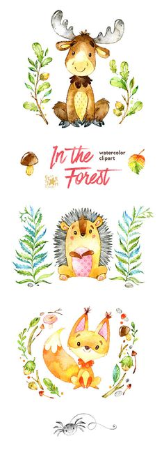En el bosque. Acuarela animales clip arte por StarJamforKids