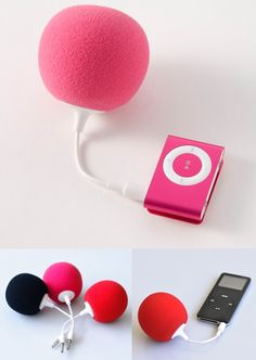 Cute portable loud speakers!    Music Balloons are portable and rechargeable USB speakers. They serve double duty as cute accessories and deceptively powerful speakers. Each speaker comes with a 3.5mm audio plug, lasts up to 4 hours, and recharge on your computer. Animate your bike rides, picnics, and pool lounging with a Music Balloon in pink, red, or black.