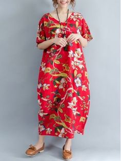 New women loose fit plus over size retro flower dress maxi tunic robe pregnant Flower Dresses, Beach Dresses, Dress Beach, Bohemian Mode, Tube Dress, Boho Fashion, Womens Fashion, Simple Dresses, Boho Dress