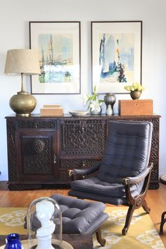 Emily Henderson — Stylist - BLOG - Episode 7.  The grey chair was bought at the rose bowl for fifty dollars and then reupholstered. The brass lamp is from the PCC flea market for thirty dollars and then with a pottery barn lampshade. #emilyhenderson #credenza #brasslamp