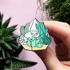 Terrarium Sloth Enamel Pin by ShopZoki on Etsy